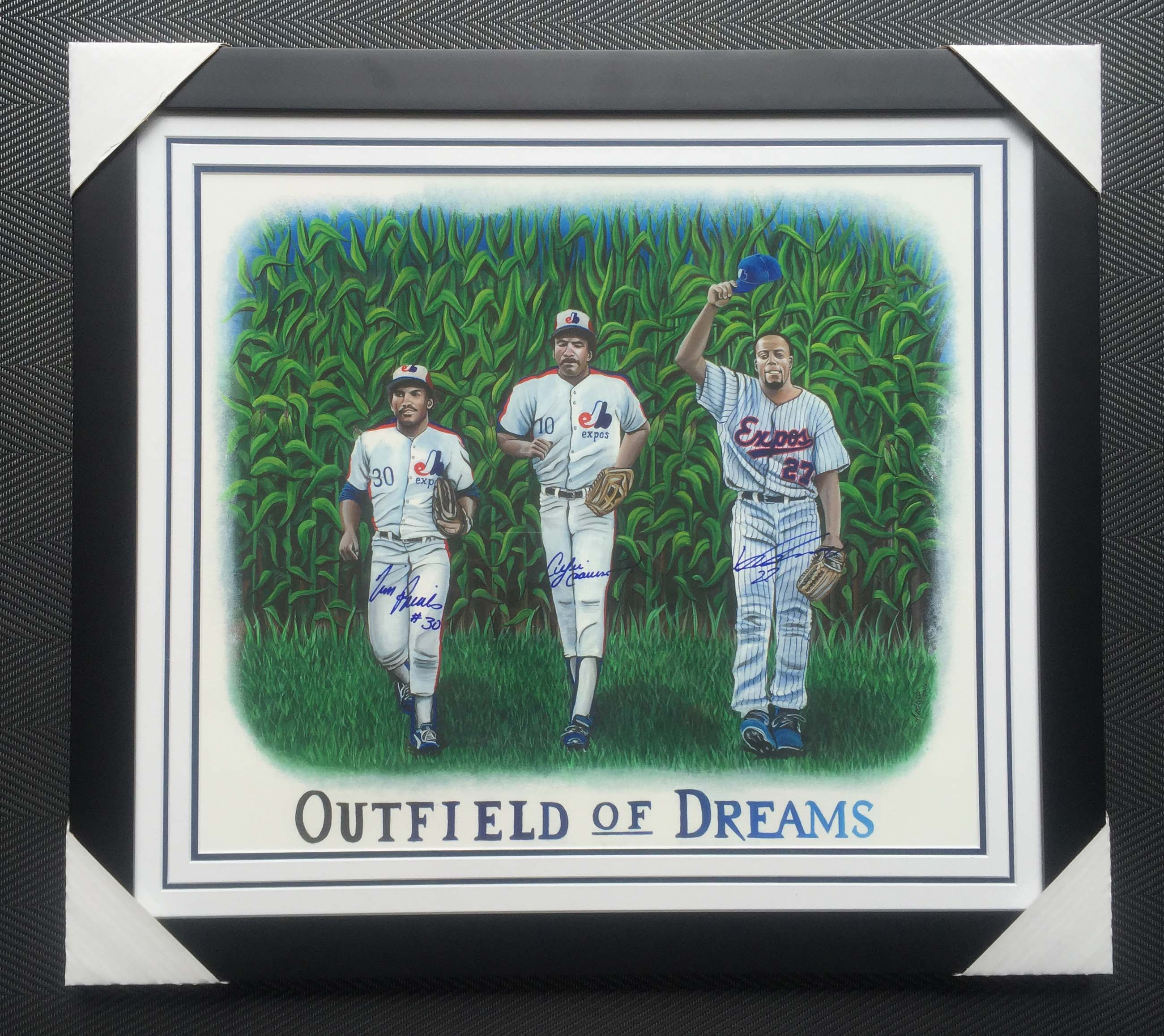 Cadre 30×26 Outfield of Dreams Signé par Tim Raines, Andre Dawson & Vladimir Guerrero