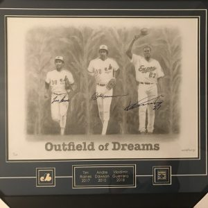 Outfield of Dreams signed frame (25x25inches) by Tim Raines, Andre Dawson and Vladimir Guerrero. Artist Peter Chokly.