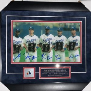 1994 Expos All Stars Signed by Marquis Grissom, Darrin Fletcher,Ken Hill, Will Cordero and Moises Alou photo 8x12 spectacularly framed!