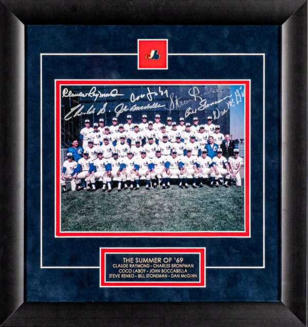 "Framed 8x10 photo, ""The Summer of 69"" signed by 7 players: Claude Raymond, Charles Bronfman, Coco Laboy, John Boccabella, Steve Renko, Bill Stoneman, Dan McGinn"