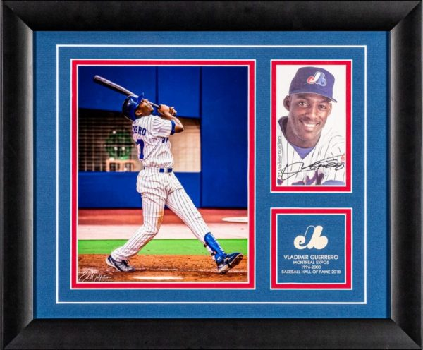 Framed Vladimir Guerrero 8x10 picture with signed 4x6 card