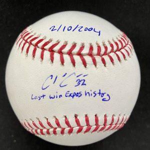 Balle de baseball officielle Rob Manfred signée par Chad Cordero. Last Win in Expos History